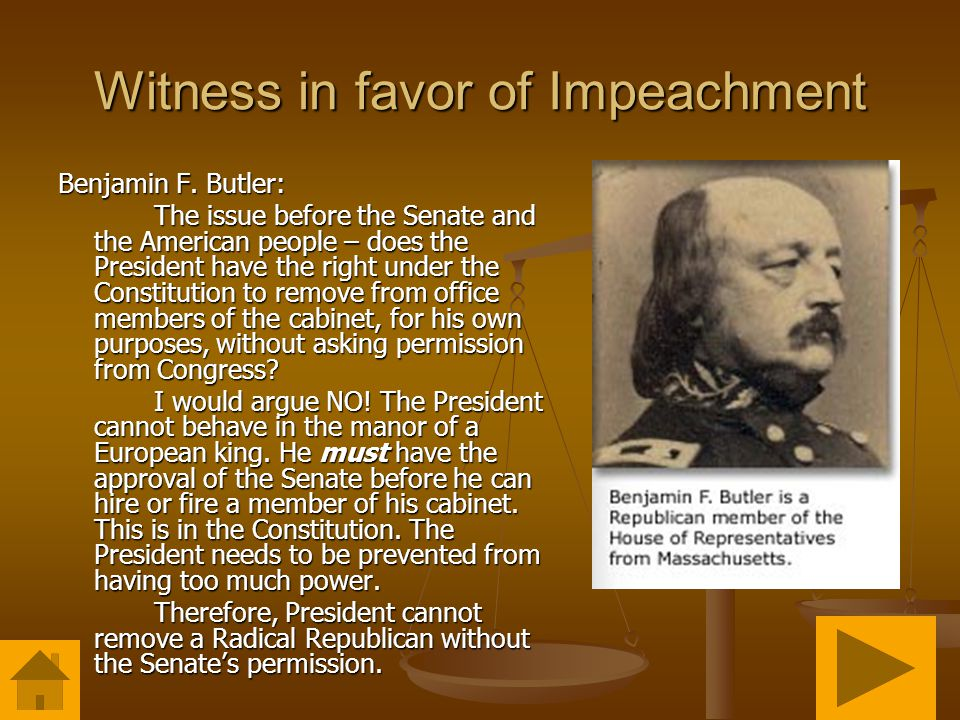 Witness in favor of Impeachment Benjamin F.