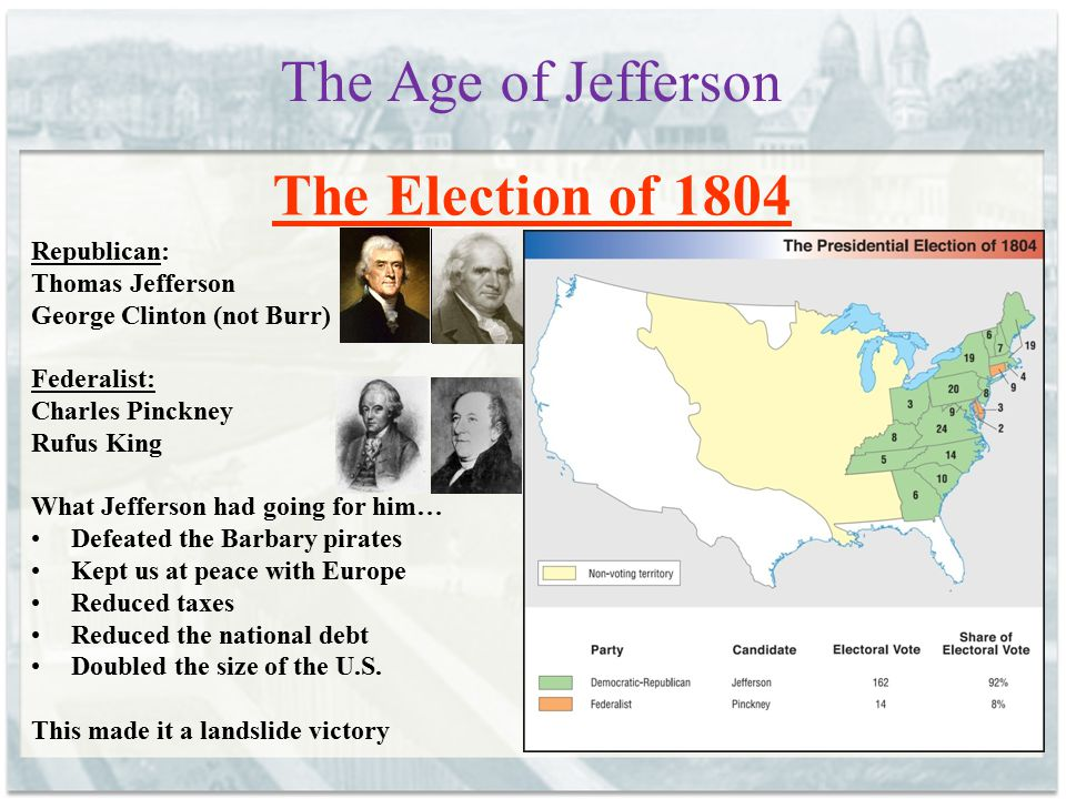 The Age of Jefferson The Election of 1804 Republican: Thomas Jefferson George Clinton (not Burr) Federalist: Charles Pinckney Rufus King What Jefferso