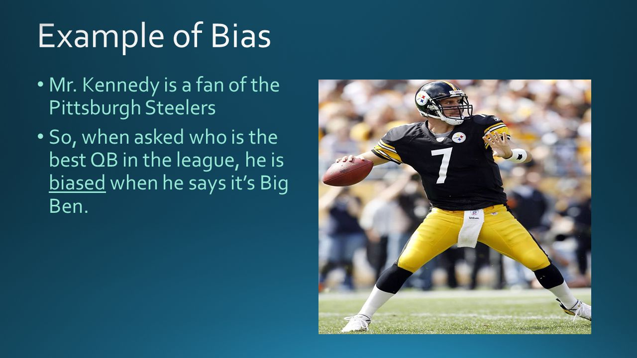 Mr. Kennedy is a fan of the Pittsburgh Steelers So, when asked who is the best QB in the league, he is biased when he says it's Big Ben.