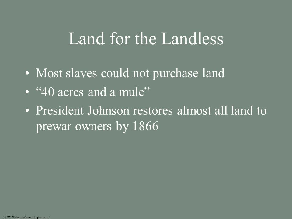 Land for the Landless Most slaves could not purchase land 40 acres and a mule President Johnson restores almost all land to prewar owners by 1866 (c) 2003 Wadsworth Group All rights reserved.