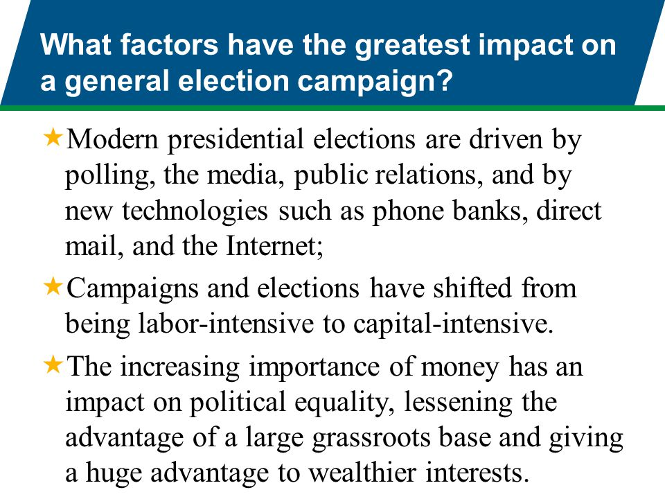 What factors have the greatest impact on a general election campaign?  Modern presidential elections are driven by polling, the media, public relatio