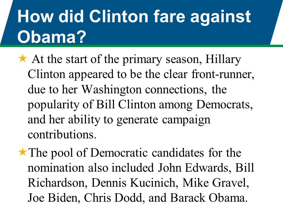 How did Clinton fare against Obama?  At the start of the primary season, Hillary Clinton appeared to be the clear front-runner, due to her Washington
