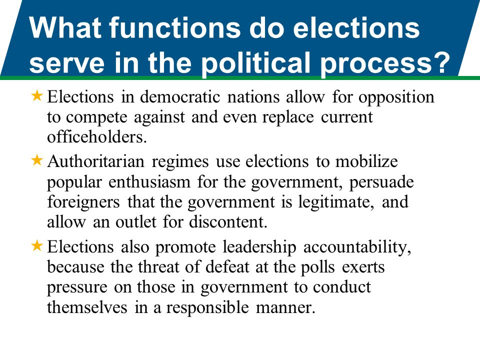 What functions do elections serve in the political process?  Elections in democratic nations allow for opposition to compete against and even replace