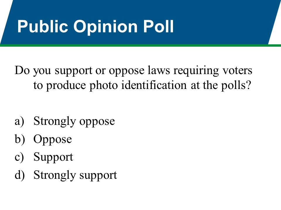 Public Opinion Poll Do you support or oppose laws requiring voters to produce photo identification at the polls? a)Strongly oppose b)Oppose c)Support