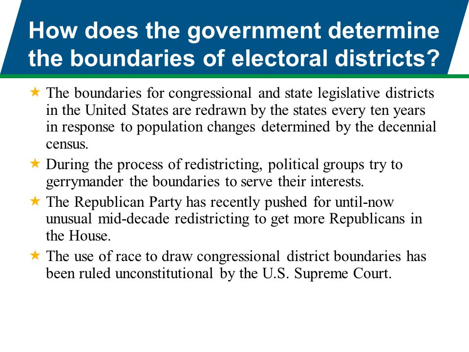 How does the government determine the boundaries of electoral districts?  The boundaries for congressional and state legislative districts in the Uni