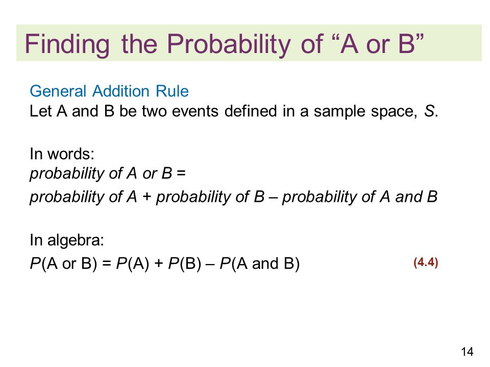 14 Finding the Probability of A or B General Addition Rule Let A and B be two events defined in a sample space, S.