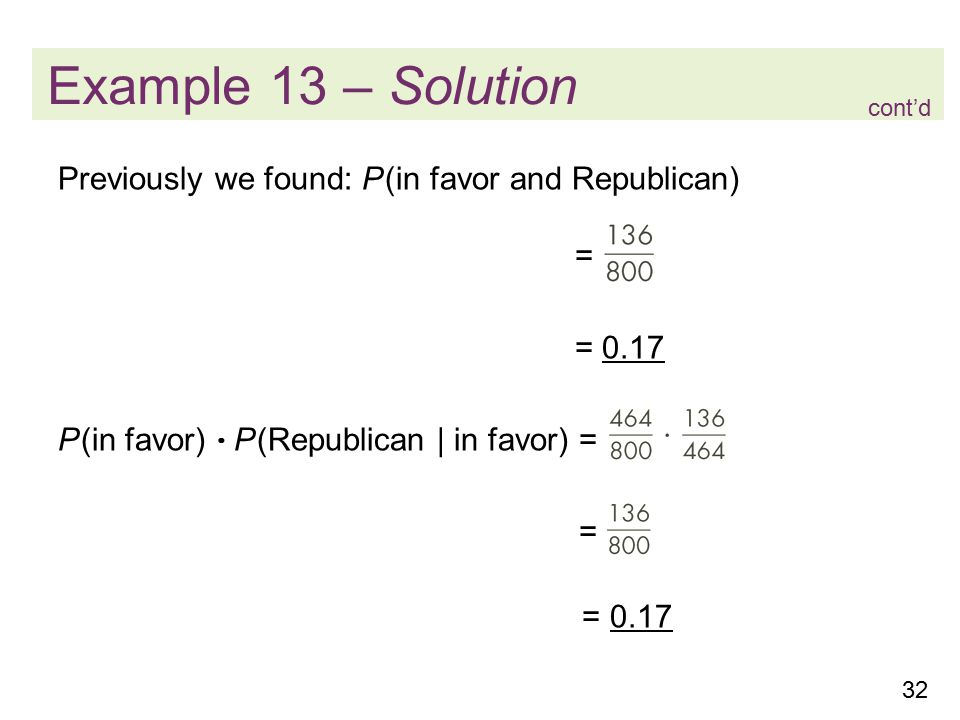 32 Example 13 – Solution Previously we found: P (in favor and Republican) = = 0.17 P (in favor)  P (Republican | in favor) = = = 0.17 cont'd