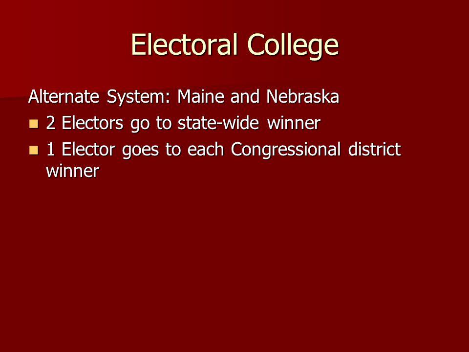 Electoral College Alternate System: Maine and Nebraska 2 Electors go to state-wide winner 2 Electors go to state-wide winner 1 Elector goes to each Congressional district winner 1 Elector goes to each Congressional district winner