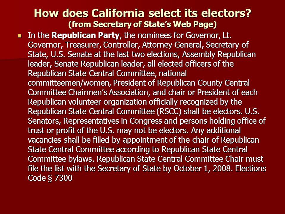 How does California select its electors.