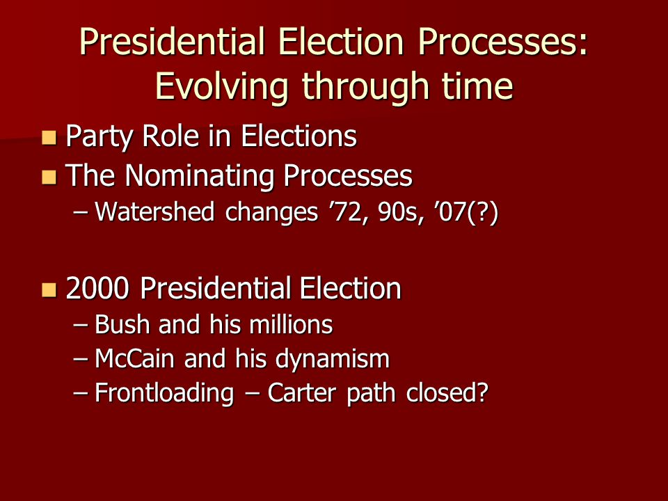Presidential Election Processes: Evolving through time Party Role in Elections Party Role in Elections The Nominating Processes The Nominating Process