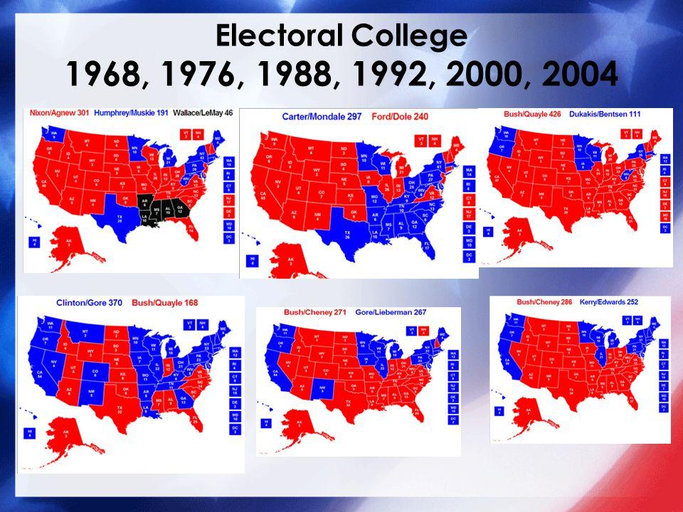 Electoral College 1968, 1976, 1988, 1992, 2000, 2004