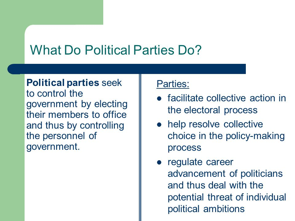 Political parties perform multiple functions to accomplish these aims.