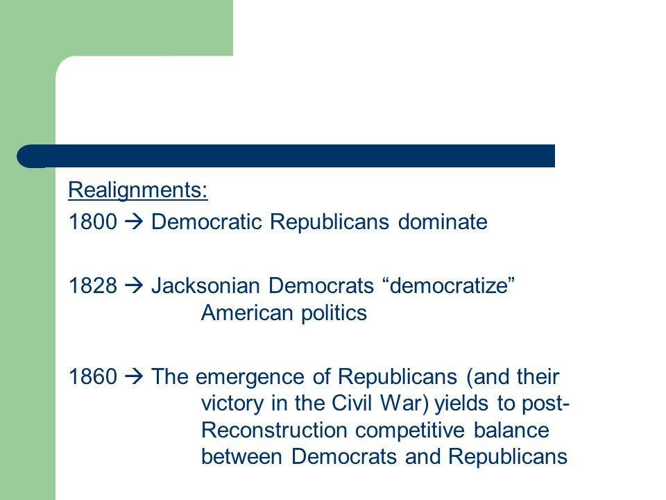 1896  Republicans reassert their dominance 1932  Franklin Roosevelt and the New Deal produce an extraordinary era of Democratic dominance 1968  Richard Nixon's victory and the demise of the Democrats' Solid South produces a highly competitive era of divided party control of government