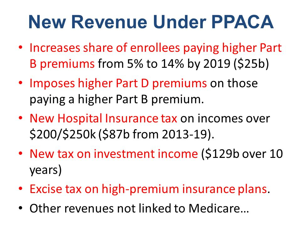 New Revenue Under PPACA Increases share of enrollees paying higher Part B premiums from 5% to 14% by 2019 ($25b) Imposes higher Part D premiums on those paying a higher Part B premium.