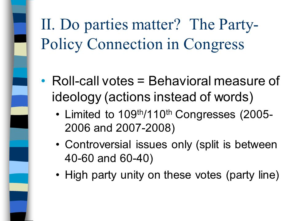 Findings State ideology determines state party positions Republicans in liberal states more liberal than Democrats in conservative states!