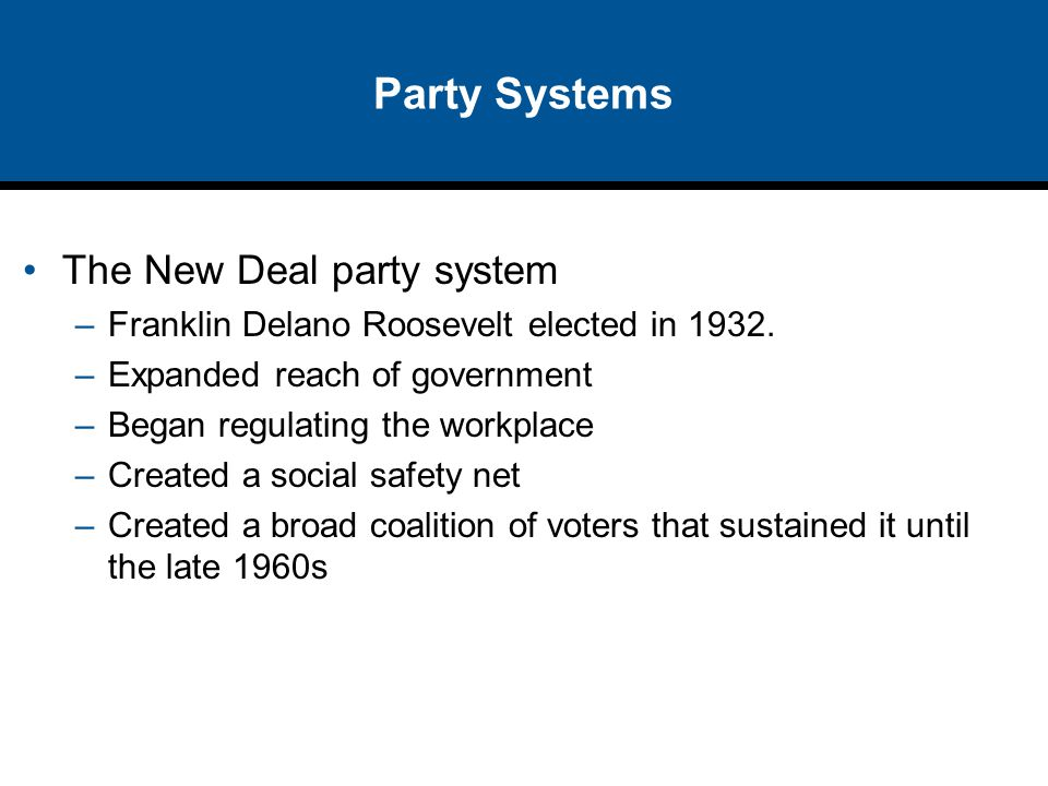 Party Systems The New Deal party system –Franklin Delano Roosevelt elected in 1932. –Expanded reach of government –Began regulating the workplace –Cre