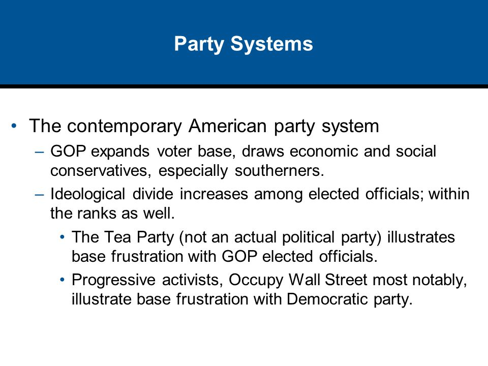 Party Systems The contemporary American party system –GOP expands voter base, draws economic and social conservatives, especially southerners. –Ideolo