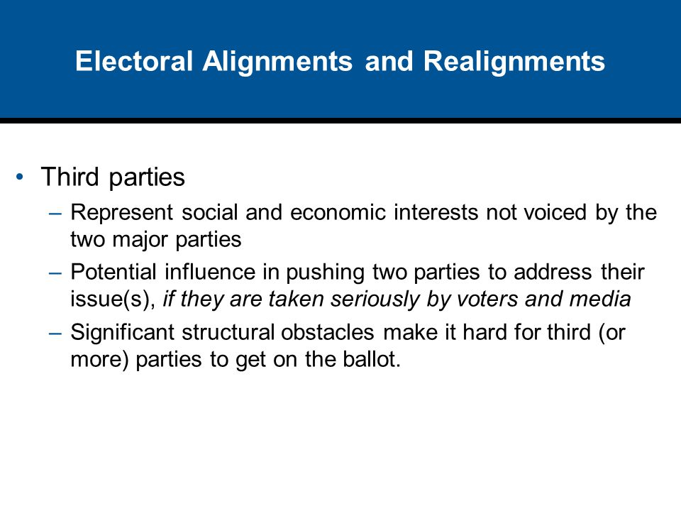 Electoral Alignments and Realignments Third parties –Represent social and economic interests not voiced by the two major parties –Potential influence
