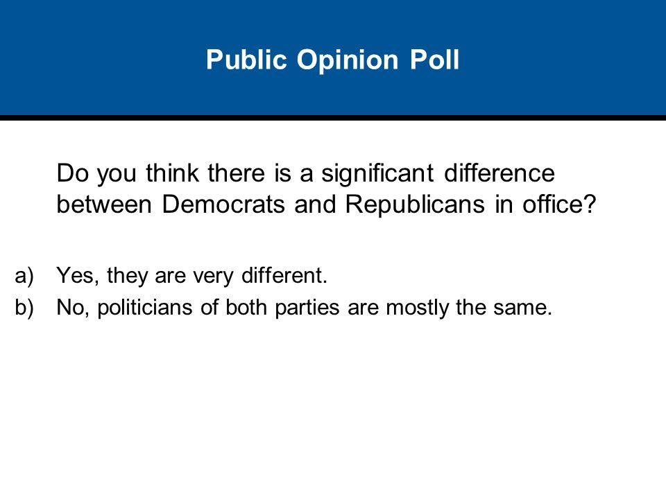 Public Opinion Poll Do you think there is a significant difference between Democrats and Republicans in office? a)Yes, they are very different. b)No,