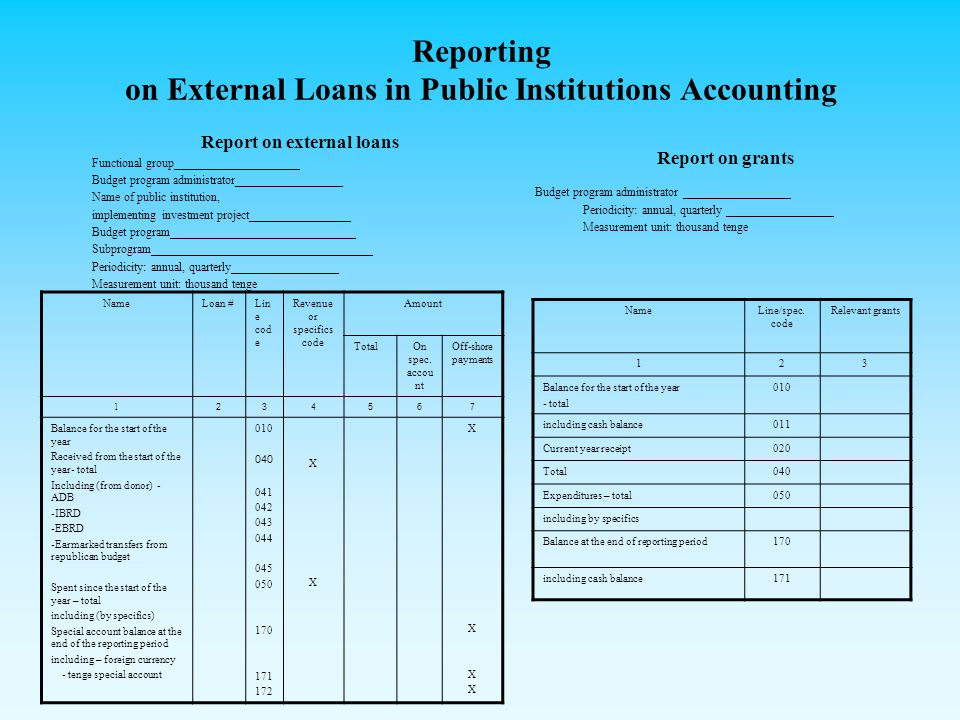 Reporting on External Loans in Public Institutions Accounting Report on external loans Functional group_____________________ Budget program administrator__________________ Name of public institution, implementing investment project_________________ Budget program_______________________________ Subprogram_____________________________________ Periodicity: annual, quarterly__________________ Measurement unit: thousand tenge Report on grants Budget program administrator __________________ Periodicity: annual, quarterly __________________ Measurement unit: thousand tenge NameLoan #Lin e cod e Revenue or specifics code Amount TotalOn spec.