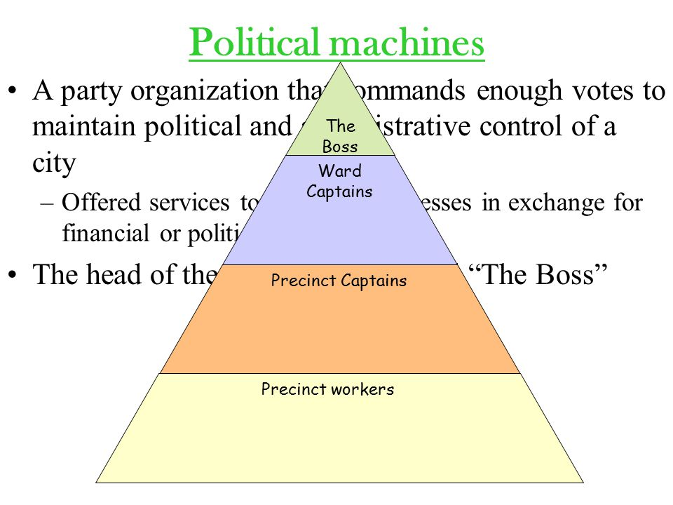 Political machines A party organization that commands enough votes to maintain political and administrative control of a city –Offered services to voters & businesses in exchange for financial or political support The head of the machine was called The Boss The Boss Ward Captains Precinct Captains Precinct workers