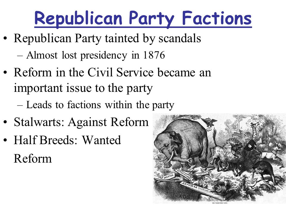 Republican Party Factions Republican Party tainted by scandals –Almost lost presidency in 1876 Reform in the Civil Service became an important issue to the party –Leads to factions within the party Stalwarts: Against Reform Half Breeds: Wanted Reform