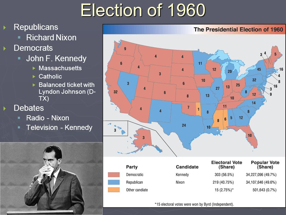 Election of 1960   Republicans   Richard Nixon   Democrats   John F.