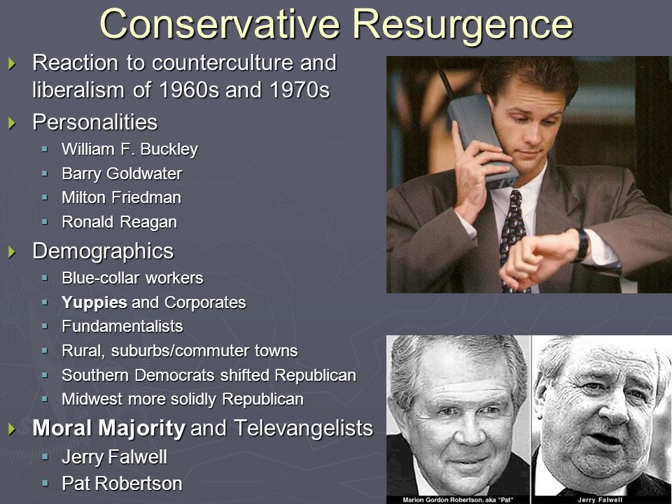 Conservative Resurgence  Reaction to counterculture and liberalism of 1960s and 1970s  Personalities  William F.