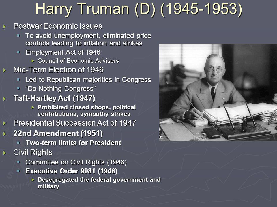 Election of 1948  Democrats  Harry Truman  Progressive Party  Henry Wallace  States' Rights Party (Dixiecrats)  Strom Thurmond  Republicans  Thomas Dewey