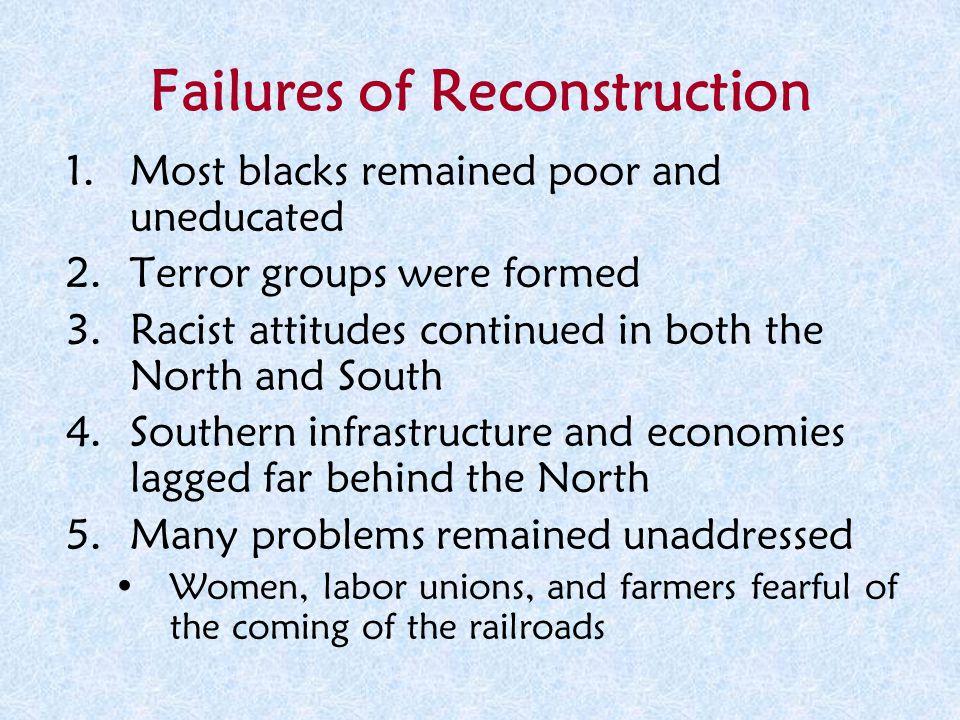 reconstruction success failure
