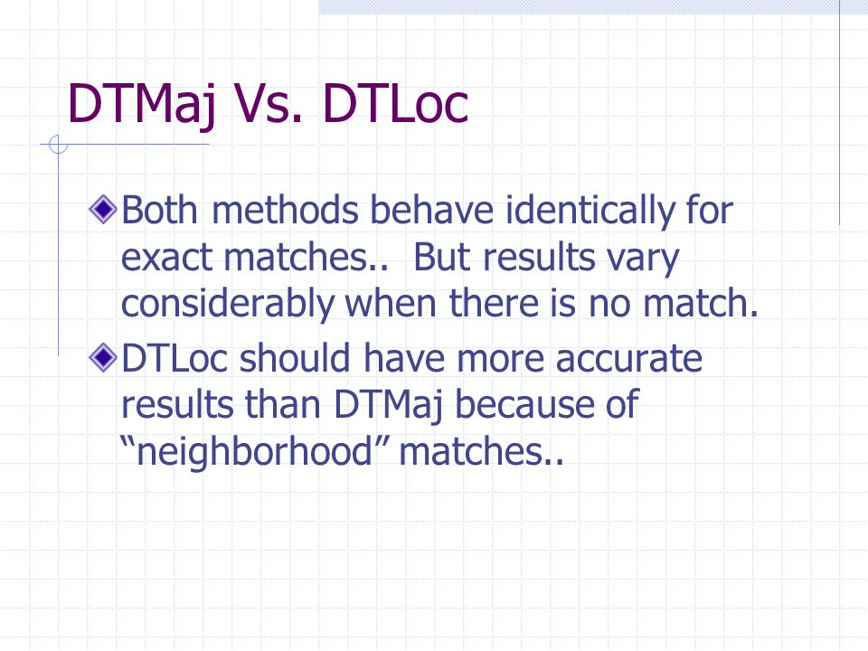 DTMaj Vs. DTLoc Both methods behave identically for exact matches..