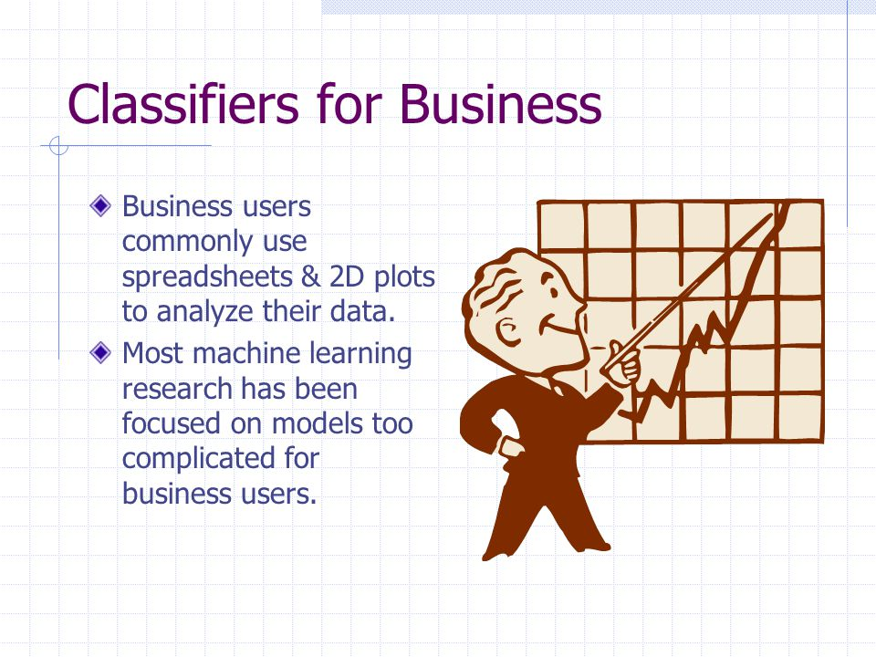 Classifiers for Business Business users commonly use spreadsheets & 2D plots to analyze their data.