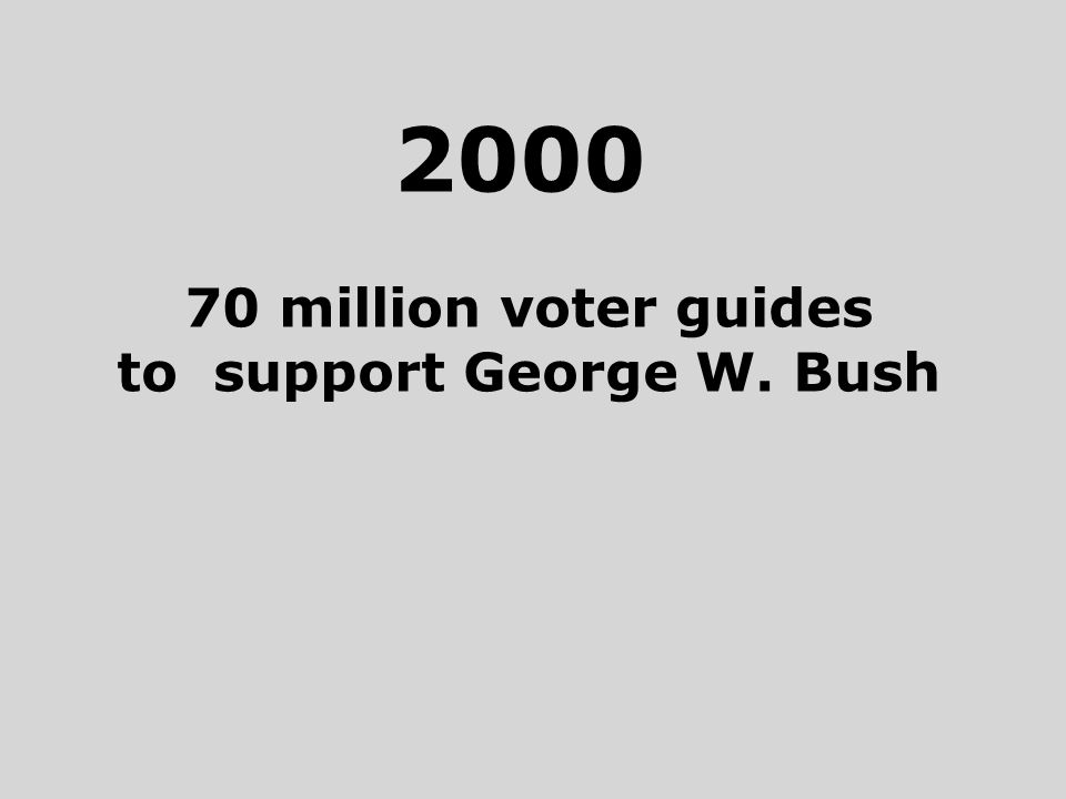 2000 70 million voter guides to support George W. Bush