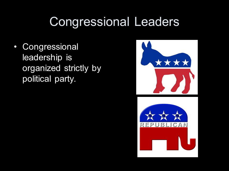 Congressional Leaders Congressional leadership is organized strictly by political party.