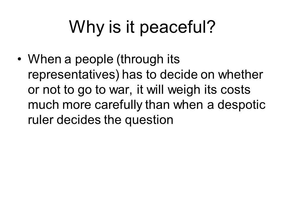 Why is it peaceful.