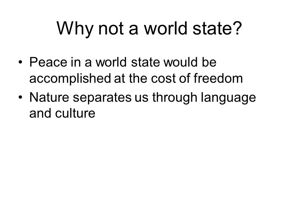 Why not a world state.
