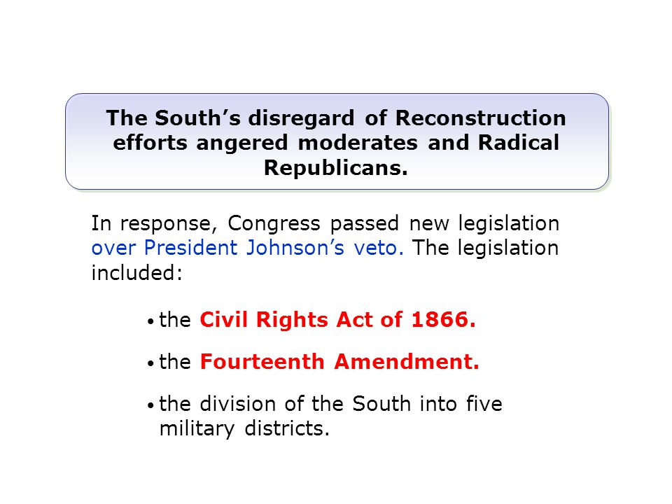 The South's disregard of Reconstruction efforts angered moderates and Radical Republicans. the Civil Rights Act of 1866. the Fourteenth Amendment. the