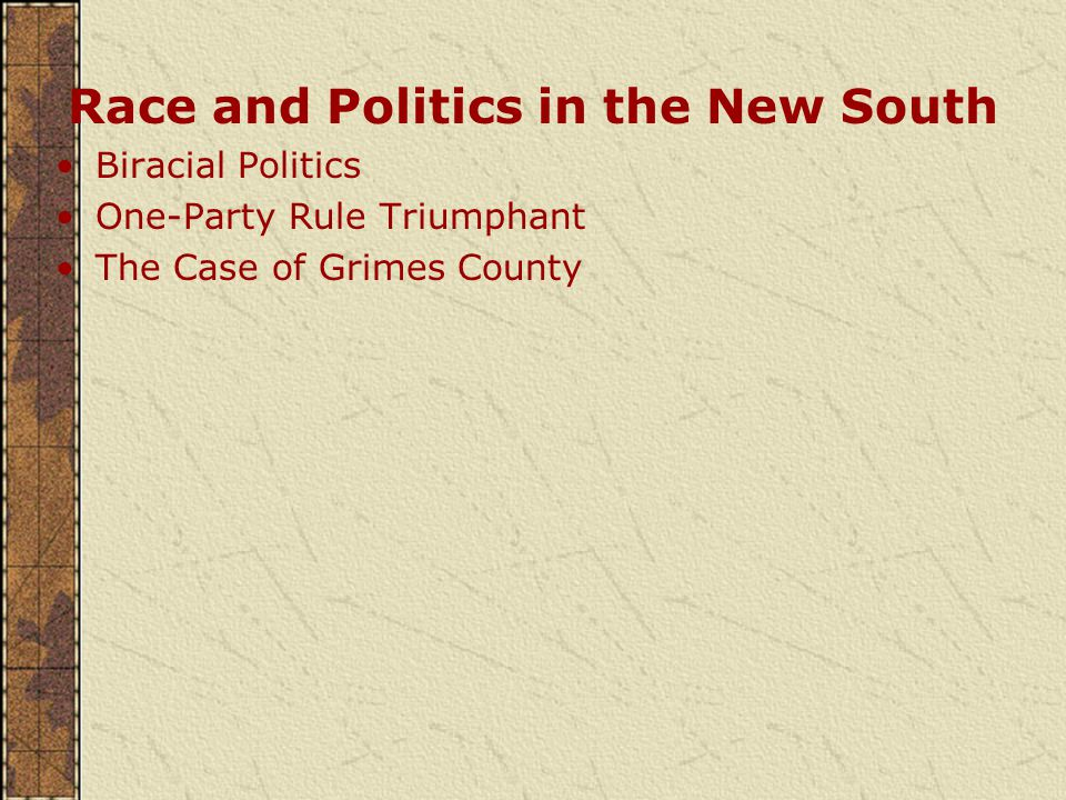 Race and Politics in the New South Biracial Politics One-Party Rule Triumphant The Case of Grimes County