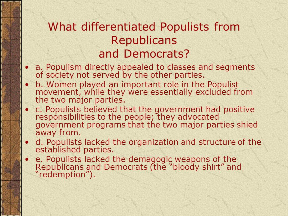 What differentiated Populists from Republicans and Democrats.