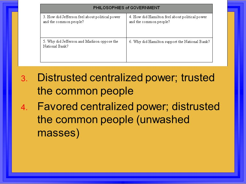 3. Distrusted centralized power; trusted the common people 4. Favored centralized power; distrusted the common people (unwashed masses)