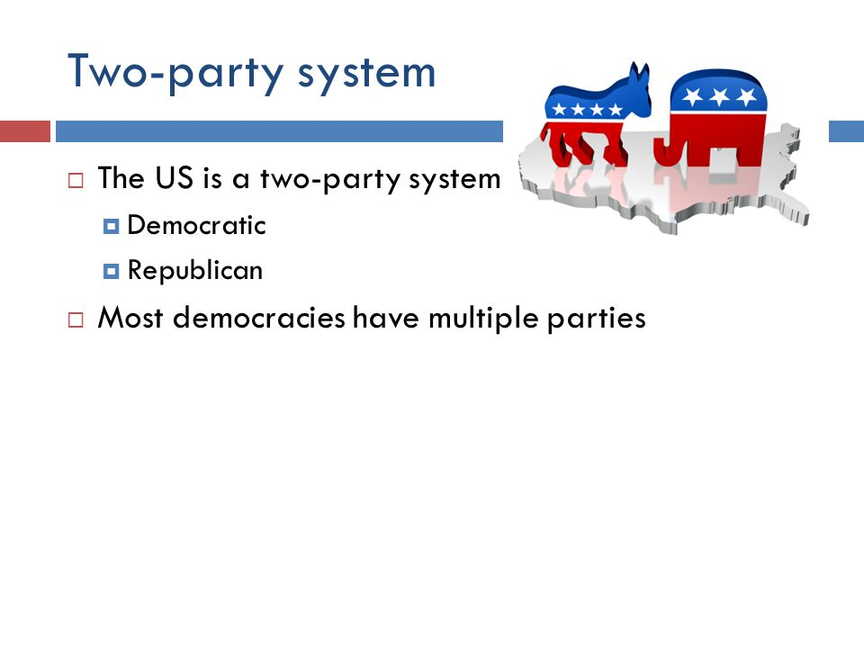 Two-party system  The US is a two-party system  Democratic  Republican  Most democracies have multiple parties