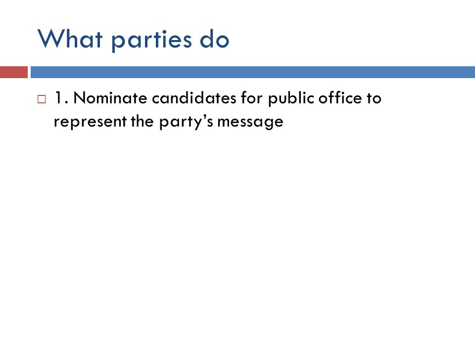 What parties do  1. Nominate candidates for public office to represent the party's message