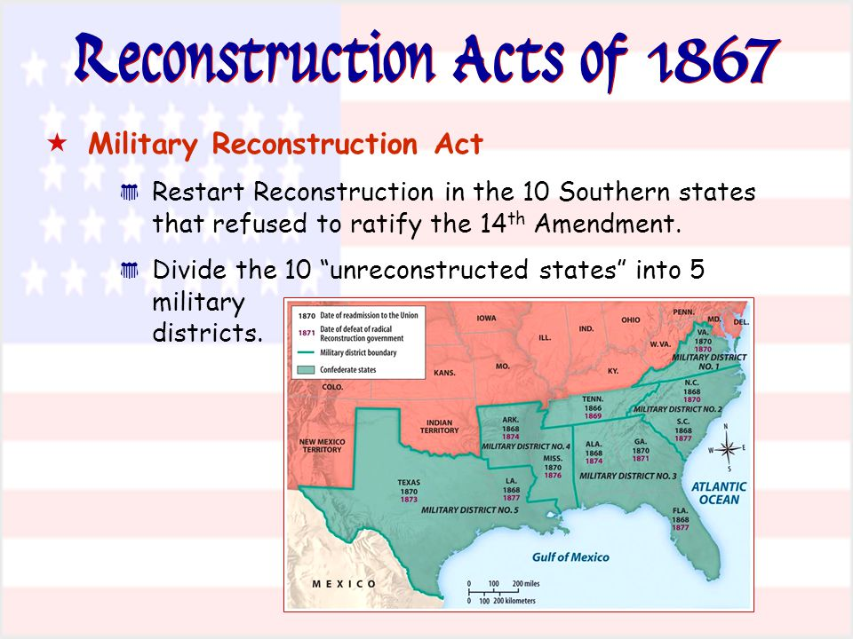 Reconstruction Acts of 1867  Military Reconstruction Act * Restart Reconstruction in the 10 Southern states that refused to ratify the 14 th Amendmen