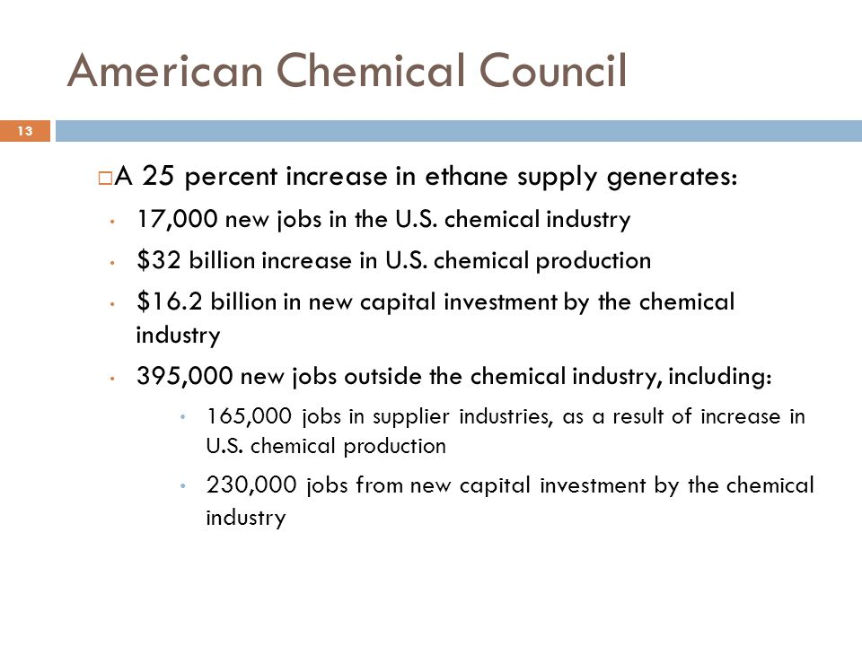 American Chemical Council 13  A 25 percent increase in ethane supply generates: 17,000 new jobs in the U.S.