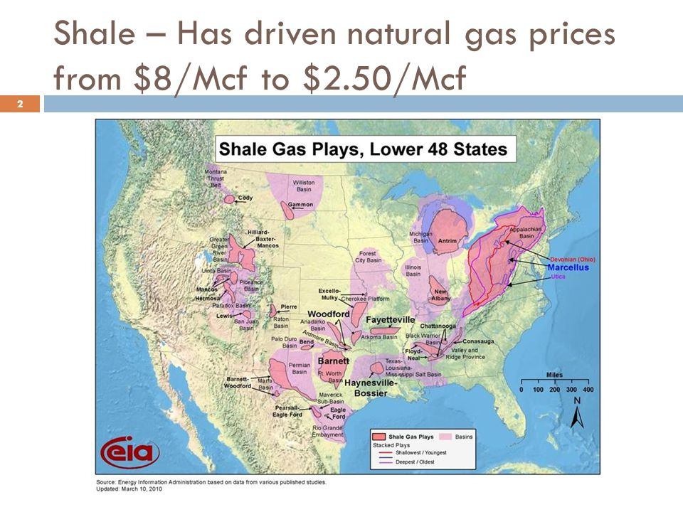Shale – Has driven natural gas prices from $8/Mcf to $2.50/Mcf 2
