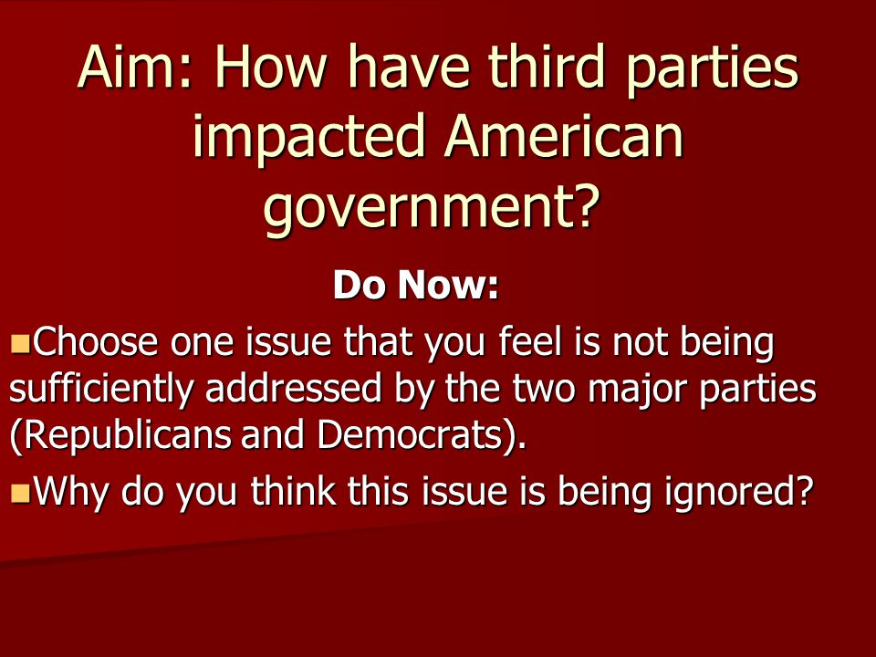 Aim: How have third parties impacted American government.