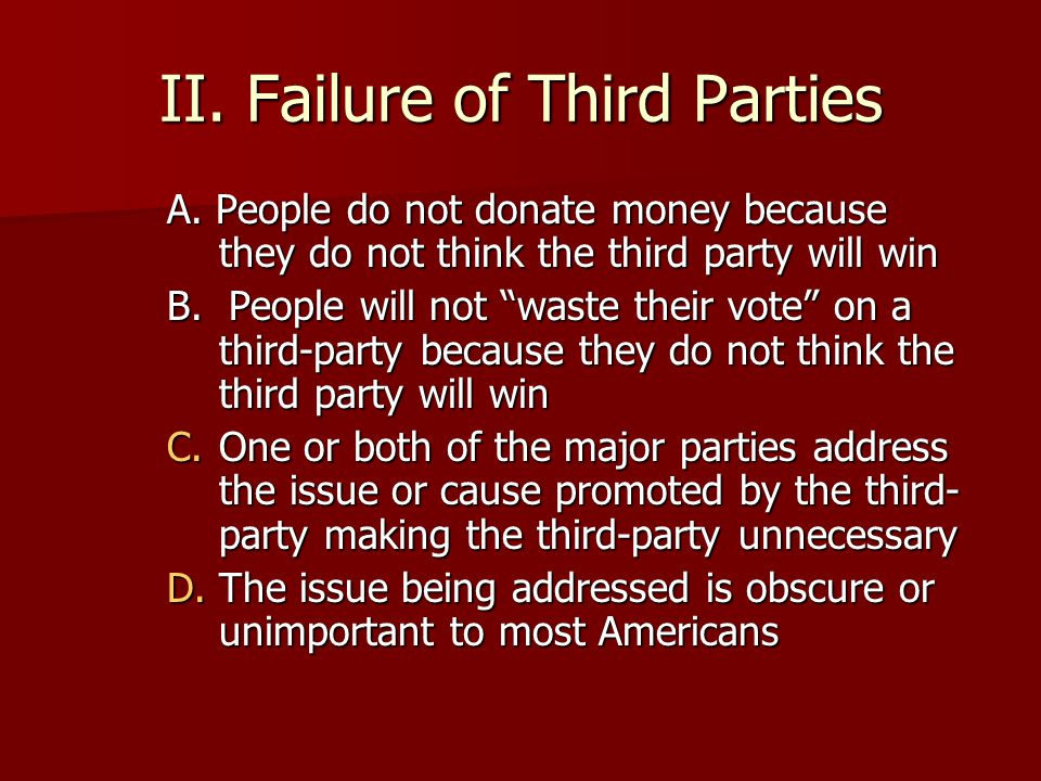 Questions to Consider: –Why haven't more minor parties emerged to challenge the two major parties –Why would a person vote for a third-party even though that party has little chance of winning.
