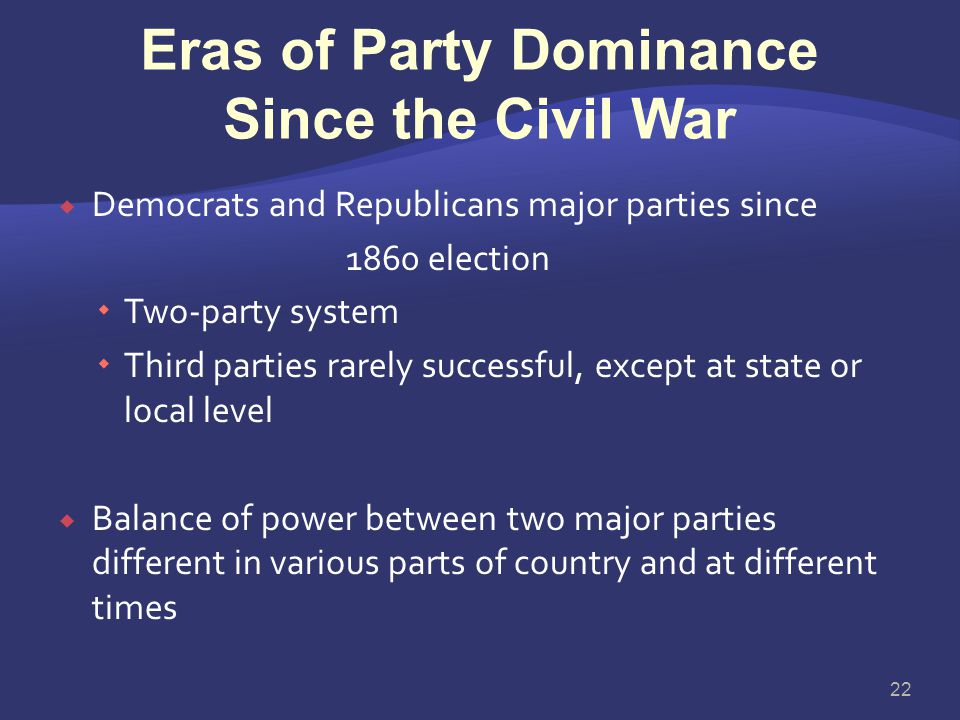 The Current Party System: Democrats and Republicans  Antislavery forces organized Republican Party in 1854  John Fremont presidential candidate in 1