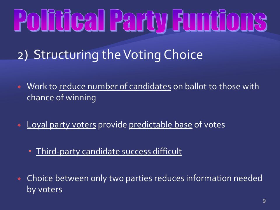 1) Nominating Candidates: Political leadership requires certain qualities  The major function is to nominate, or name, candidates for public office…