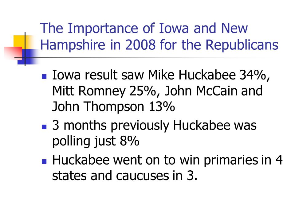 The Importance of Iowa and New Hampshire in 2008 for the Republicans Iowa result saw Mike Huckabee 34%, Mitt Romney 25%, John McCain and John Thompson
